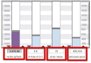 מחשבון לאומי למשכנתא לפי עמודות - שינוי ערכים על ידי הזנתם בפקד עורך הטקסט